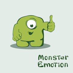 Monster emoticon with thumb up