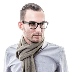 handsome young fashion man portrait - isolated