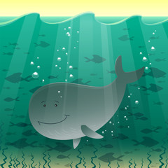 Vector illustration of a whale in the sea