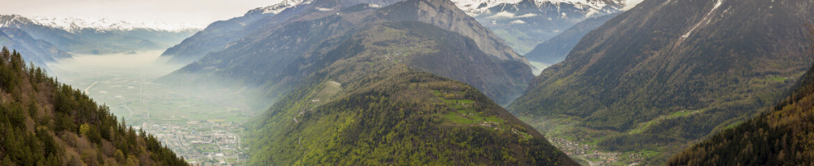 Panoramic view on Rhone valley - Switzerland.