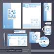 corporate identity template with blue square elements.