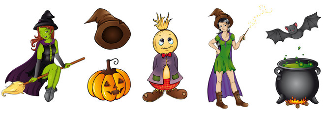 buntes Halloween Set Sammlung