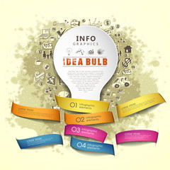 paper idea bulb and ribbons infographics