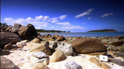 beautiful tropical rocky beach with rocks on the island of Koh
