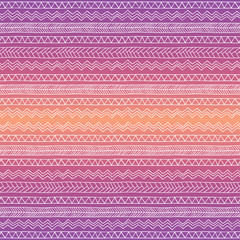 Hand drawn seamless tribal patter with gradient