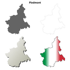 Piedmont blank detailed outline map set