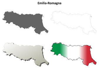 Emilia-Romagna blank detailed outline map set