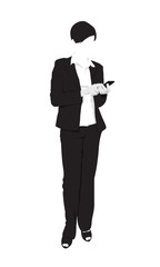 Detailed silhouette of business woman using smart phone