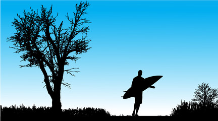 Vector silhouette of a man with surfboard.