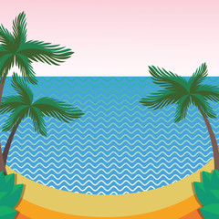 Summer theme. Palms on the beach. Flat style.