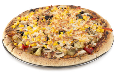 Homemade vegetarian pizza with mushroom and corn