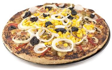 Homemade vegetarian pizza with onion and corn