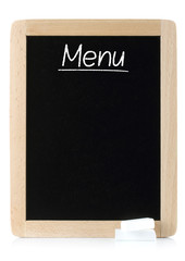 Menu blackboard with white chalks on white background.