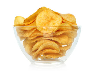 Potato chips bowl on a white background.