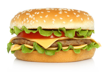 Big hamburger on white background .