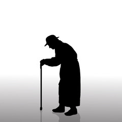 Vector silhouette of old woman.