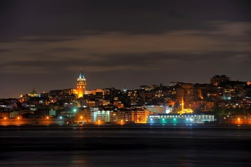Istanbul night view with galata tower