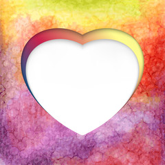 Vector heart-shaped frame on watercolor background