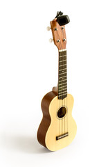 Ukulele  and Tuner isolated on white Clipping path included