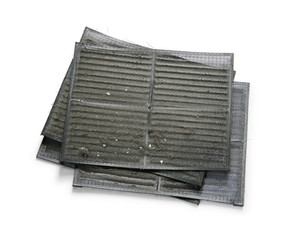 Air conditioner filter with dirty dust isolated on white