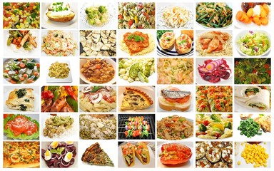 Different Meals Containing Healthy Vegetables Collage