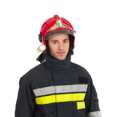Fireman in red helmet