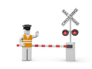 Railroad crossing with worker