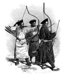 Trad. Chinese Bowmen - Archers Chinois - 19th century