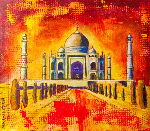 Fotobehang Olieverf Kunstdruk Taj Mahal Ölgemälde Gemälde Kunstdruck artprint Kunst