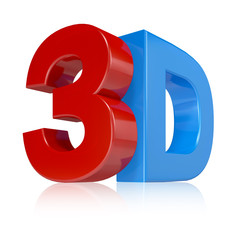 3d illustration in red and blue on white background