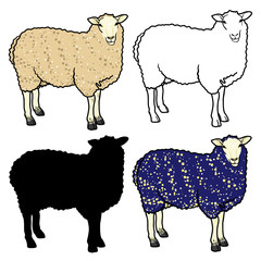 Set of four sheep