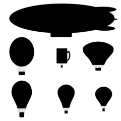 Vector silhouette of a hot air balloon.
