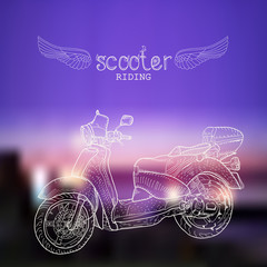 Hand-drawn scooter on the night blurred background