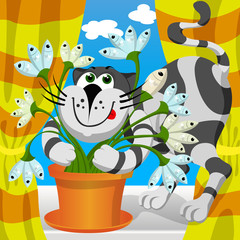 Vector illustration - cat embraces fish flower.