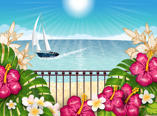 Tropical landscape with boat horz