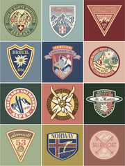 Vintage mountains souvenir vector patches