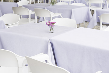 Restaurant with white tables