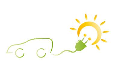 Elektroauto fährt mit Solarstrom