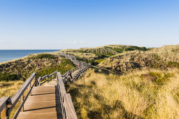 People on wooden footpath on dune at beach in Germany.