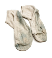 Smelly dirty socks isolated on the white background