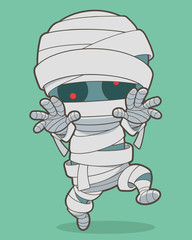 Cartoon running mummy