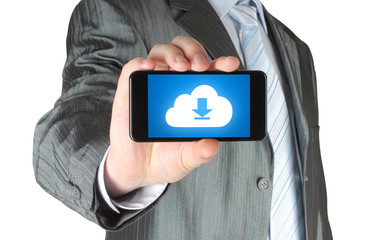 Man holds smart phone with cloud download concept