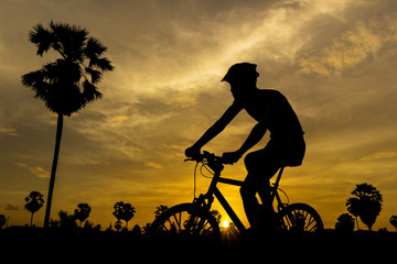 Cycling on sunset