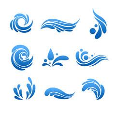 Water drop and splash icon vector set