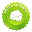 notre adresse sur bouton web denté vert