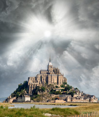 Normandy, France. Sunset view of Mont Saint-Michel