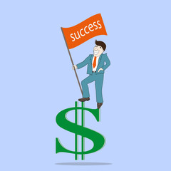 Man with success flag standing on top dollar sign