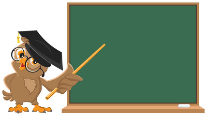 Owl teacher holding pointer at blackboard