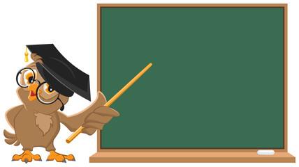 Owl teacher holding pointer at blackboard