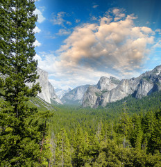 Wonderful National Park scenario. Mountain landscape with trees